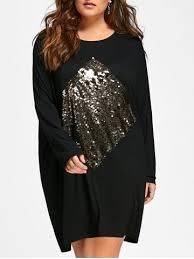 black one size plus size sequin embellished long sleeve tunic