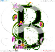 royalty free rf clipart illustration of a black capital letter b