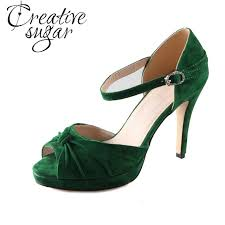 wedding shoes green handmade christmas green emerald suede sheet leather heel greenery