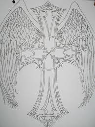 cross with angel wings tattoos on back photos pictures and