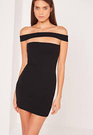 cut out dress cut out panel bardot bodycon dress black missguided