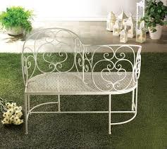 White Metal Outdoor Bench Romantic Couple White Metal Bench Love Seat Garden Patio Indoor