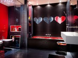 extraordinary red black and grey bathroom ideas with mosaic wall