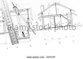 blueprints for new homes construction tools and blueprints for a new house project stock