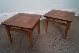 lane mid century modern coffee table lane mid century modern pair of walnut u0026 burl wood small square