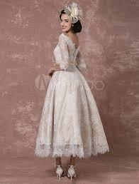 milanoo robe de mari e robe de mariée en dentelle bateau vintage chagne demi manches a