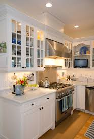 Cottage Kitchens Ideas Kitchen Style Distressed Green Wooden Stainless Steel Gas Stove