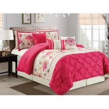 Ruffled Comforter Pink Floral Bedding