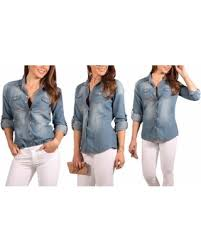 light blue button down shirt women s amazing deal on women s button down roll up sleeve classic denim top