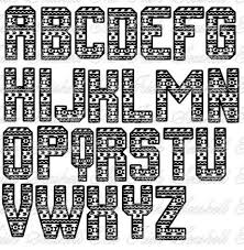 aztec tribal print alphabet letters font svg by theirishseashell