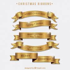 set of bright golden ribbons of merry vector free