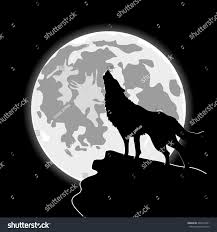 halloween email background howling wolf front cartoon moon halloween stock vector 404315851