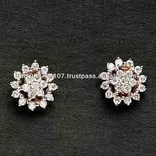 daily wear diamond earrings pave setting diamond tops in gold rhodium plated gold diamond