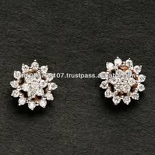 diamond earrings india pave setting diamond tops in gold rhodium plated gold diamond