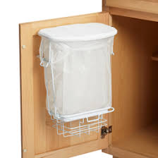 trash can attached to cabinet door chrome axis over the cabinet grocery bag holder the container store