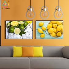 aliexpress com buy modern canvas painting fresh green and yellow