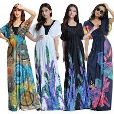 women plus size floral maxi bohemian beach summer long dress m