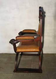 Throne Chair Antique Carved Wood Leather Throne Chair For Sale At Pamono