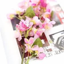 Artificial Plants Home Decor 10 Pcs Artificial Plants Plastic Fake Flowers Silk Cherry Blossom