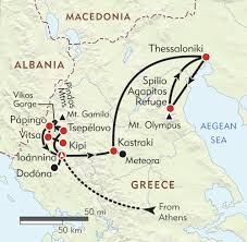 Ancient Greece On A World Map by Greece Zagoria And Mt Olympus Itinerary U0026 Map Wilderness Travel