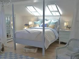 painting attic room slanted walls golden striped blanket blue