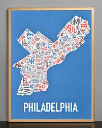 map of philly philadelphia neighborhood map 18 x 24 multi color screenprint