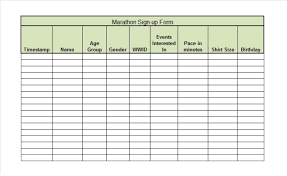 Sign In Sheet Excel Template Marathon Event Sign Up Sheet Template Page Printable Vlashed