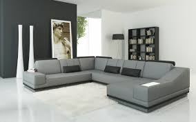 Gray Leather Sectional Sofas Casa 5068 Modern Grey And Black Leather Sectional Sofa
