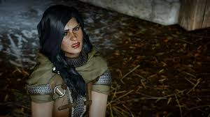 dragon age inqusition black hair yennefer hair attempt shown by june trevelyan in dragon age