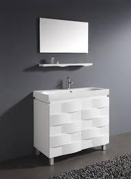 Modern White Bathroom - sophisticated sleek white bathroom vanity and mid century modern