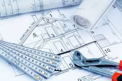 drawing and planning for a house blueprint design stock photo