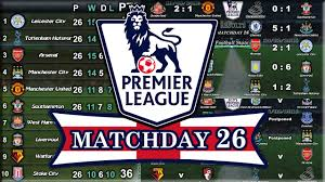 epl matchday 11 english premier league results table fixtures matchday 26 14