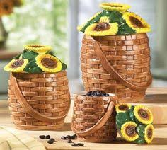 sunflower kitchen canisters shop sunflower bathroom set handmade drawing four pieces