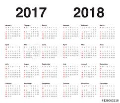 simple calendar template for 2017 and 2018 buy this stock vector