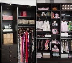 black wooden closet with shelves and drawers plus hanging clothes