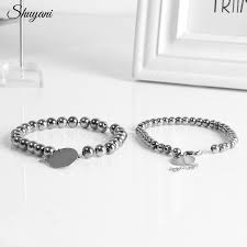 Personalized Engraved Bracelets Stainless Steel Beads Bracelets For Women Couple Personalized
