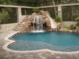 free form pool with slide all aqua pools