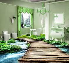 Waterproof Wallpaper For Bathrooms 3d Pvc Flooring Custom Waterproof Wallpaper 3 D Bridge Watercourse