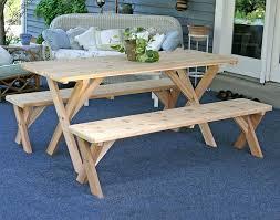 Cedar Patio Furniture Sets - creekvine designs cross legged cedar wood picnic table set