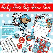 printable monkey pirate baby shower theme designs