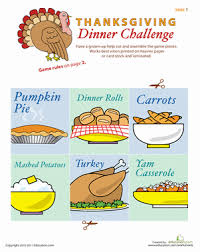 play the thanksgiving dinner table challenge worksheet