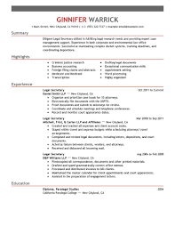 Resume Samples Accounting Experience by Best Legal Secretary Resume Example Livecareer