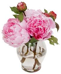 artificial peonies silks silk peonies bouquet in glass vase with