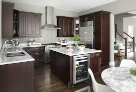 modern kitchen with brown cabinets kitchen island with wine cooler contemporary kitchen