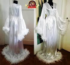 wedding sleepwear satin dressing gown angel sleeve feathers wedding sleepwear