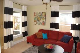Red White Striped Rug Black And White Wide Straped Draperies Curtain Combined With Widow