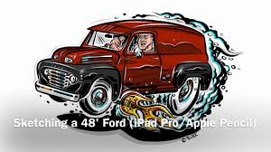 sketching a hotrod cartoon 1948 ford truck ipad pro u0026 apple