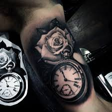 Male Flower Tattoos - male pocket watch inner arm rose flower tattoos tattoos