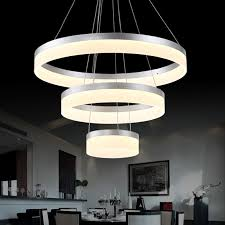 Diy Led Chandelier Modern Chrome Aluminium Ring Dimmable Luminaire Led Chandelier