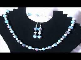 cercei online bijuterii handmade online set colier si cercei millefiori blue